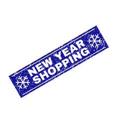 new year shopping grunge rectangle stamp seal with vector image