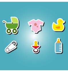 Olor icons with baby stuff vector