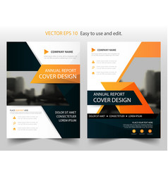 orange black annual report brochure design vector image