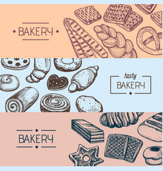 Organic bakery food vintage flyers vector