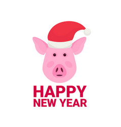 pig face avatar wearing hat happy new year merry vector image