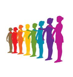 Rainbow row ballet dancers vector