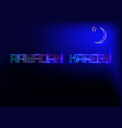 ramadan kareem greeting cards neon sign style vector image