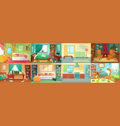 Room interior bedroom living kitchen kids vector
