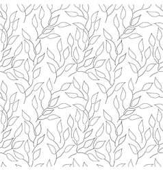 Seamless black and white background with leaves vector