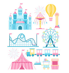 Set amusement park vector