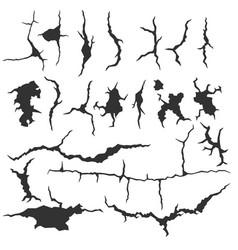 Set dark wall cracks isolated on white vector