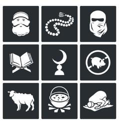 set islamic culture and faith icons vector image