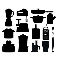 Set of black silhouettes of kitchen instruments vector