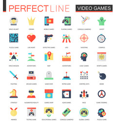 set of flat video games icons vector image