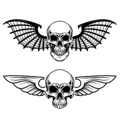 set winged craniums skull with bat wings vector image