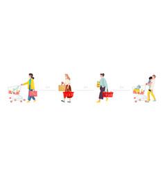 social distance concept people in medical masks vector image