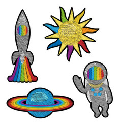 Space embroidery patch set vector
