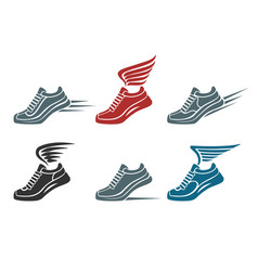 Sport shoes emblem set vector