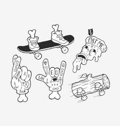 strange skater stickers vector image
