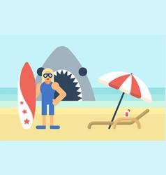 Surfer on beach vector