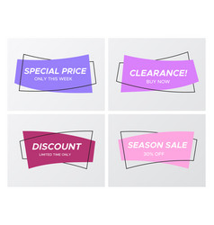 Trendy violet curved rectangle flat sale banners vector