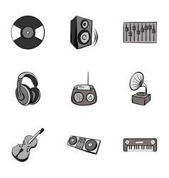 Tune icons set gray monochrome style vector