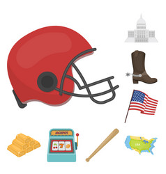 Usa country cartoon icons in set collection for vector
