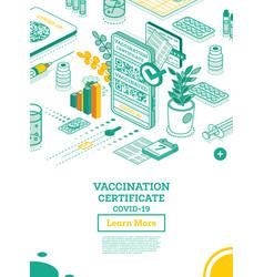 Vaccination certificate on screen smartphone vector
