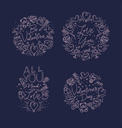 valentines day flat monograms blue vector image