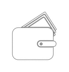 wallet sign black dotted vector image