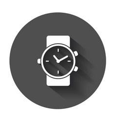 watch icon clock flat with long shadow vector image