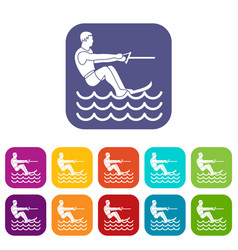 Water skiing man icons set vector