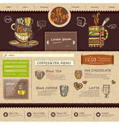 Web site design template Decorative cup of coffee vector