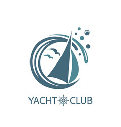 Yacht and waves icon vector
