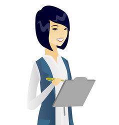 Young asian business woman writing on clipboard vector