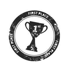 black retro stamp imprint with winner cup award vector image vector image