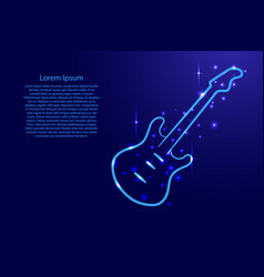 blue guitar outline with luminous cosmic stars vector image vector image