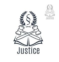 Justice legal emblem of gavel wreath book vector