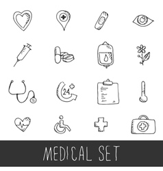 Sketch Medical Icon Set vector image