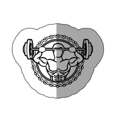 sticker border with contour muscle man lifting a vector image vector image