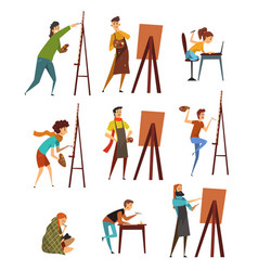 artists painting on canvas set painter characters vector image vector image