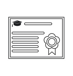 Certificate diploma school icon thin line vector