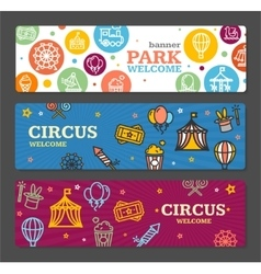 Circus Amusement Park Banner Card Tickets vector image vector image
