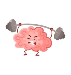 Funny concentration brain training with a barbell vector image