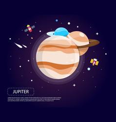 jupiter saturn and neptune of solar system design vector image