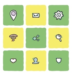 Set of doodle web computer and connecting icons vector image vector image
