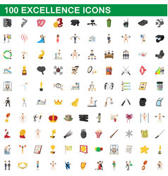100 excellence icons set cartoon style vector image vector image
