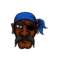 Cartoon pirate in bandanna and eye patch vector