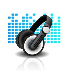 headphones - blue background vector image vector image