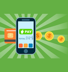 mobile money transfer concept in flat design vector image vector image