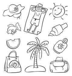 Doodle of summer object various vector