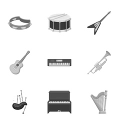 Musical instruments set icons in monochrome style vector image vector image