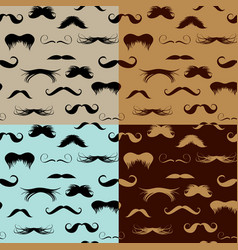 seamless pattern with mustache on different colors vector image vector image