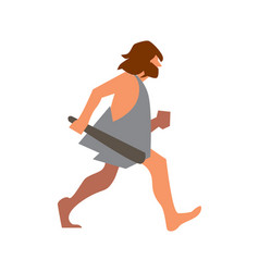stone age man with club going vector image